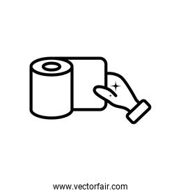 hand and toilet paper icon, line style