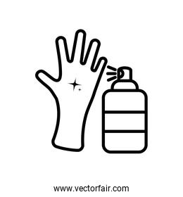 clean hand and antibacterial spray can icon, line color style