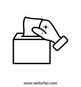 hand with tissues box icon, line style