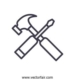 Isolated hammer and screwdriver line style icon vector design