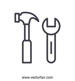 Isolated wrench and hammer line style icon vector design