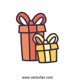Gifts with bowties fill style icon vector design