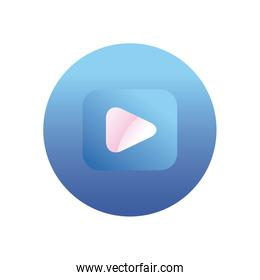 Play button gradient style icon vector design