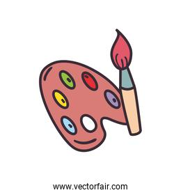 Paint palette and brush fill style icon vector design