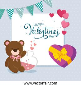 happy valentines day with teddy bear and decoration