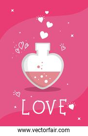 fragrance with heart bottle and love lettering isolated icon