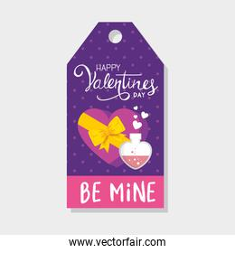 label happy valentines day with decoration
