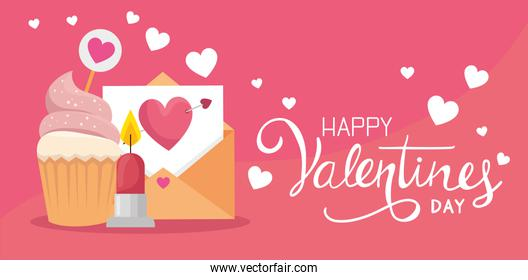 happy valentines day with envelope and decoration