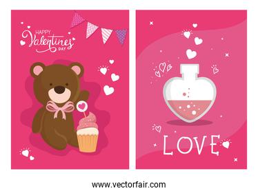 set cards happy valentines day with decoration