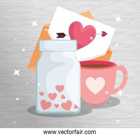 bottle with hearts and icons for san valentines day