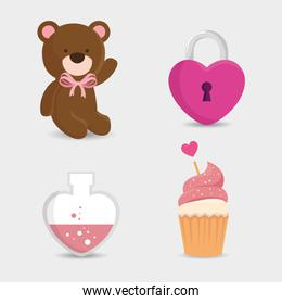 teddy bear of cute icons for valentines day