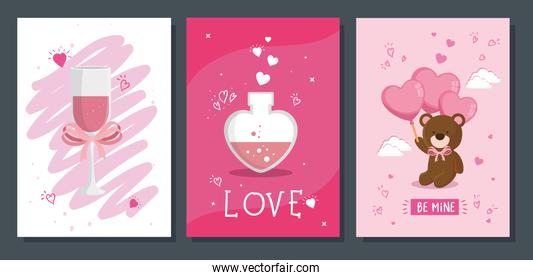 set icons for san valentines day with decoration