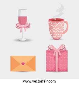 envelope mail with icons for san valentines day