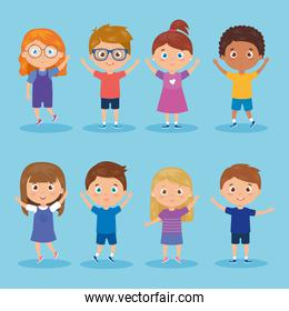 set of children standing on blue background