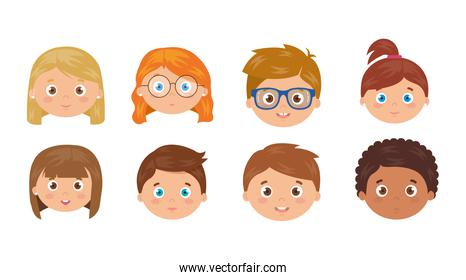 set of heads of children smiling on white background
