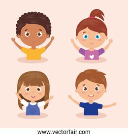set of children smiling with his hands up