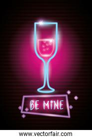 cup of glass in neon light, valentine day