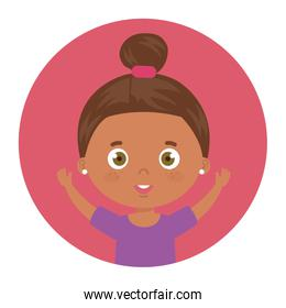 cute little girl afro with hands up in frame circular