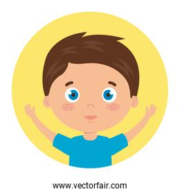 cute little boy with hands up in frame circular