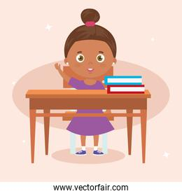 cute little girl afro with wooden desk