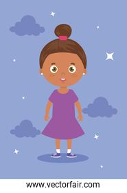 cute little girl afro with clouds and stars