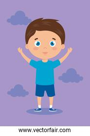 cute little boy with hands up and clouds purple background