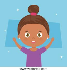 cute little girl afro with hands up