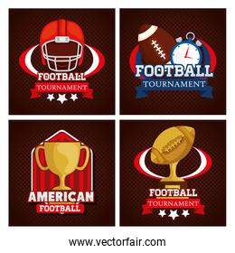 set poster of american football with decoration