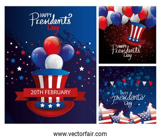 set poster of happy presidents day with decoration
