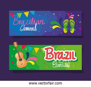 set of poster carnival brazil with decoration