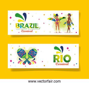 set poster of brazil carnival with decoration