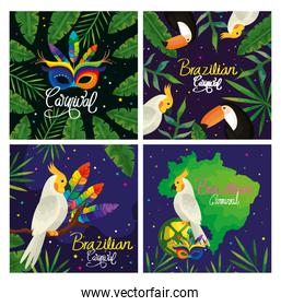 set poster of brazil with decoration