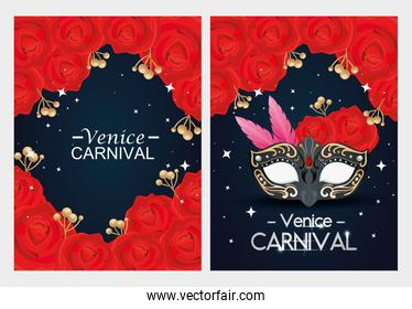 set of poster venice carnival with decoration