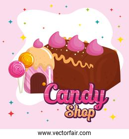 poster of candy shop with cake chocolate and candies