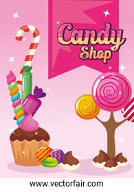poster of candy shop with landscape caramels