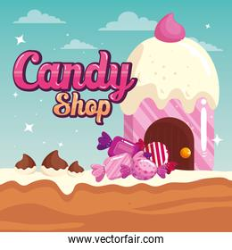 poster of candy shop with cupcake house delicious