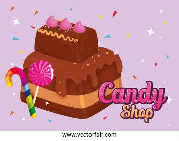 poster of candy shop with brownie and caramels