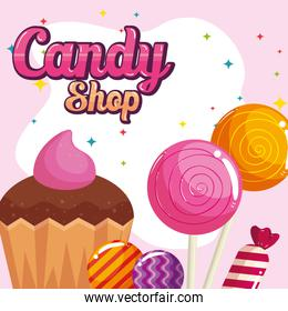 poster of candy shop with cupcake and caramels