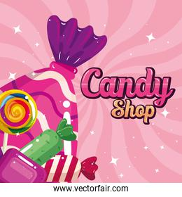 poster of candy shop with caramels