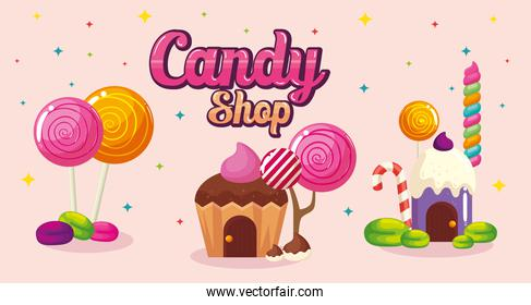 poster of candy shop with homes cupcake and caramels