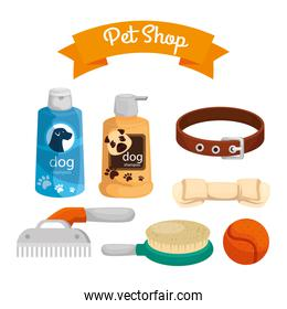 pet shop with care bottles and icons