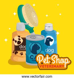 pet shop veterinary with care bottles and objects