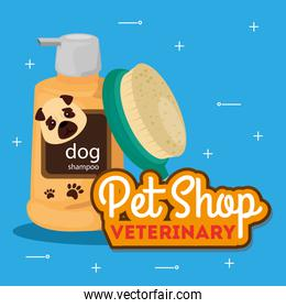 pet shop veterinary with brush and care bottle products