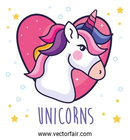 head of cute unicorn in heart and stars decoration