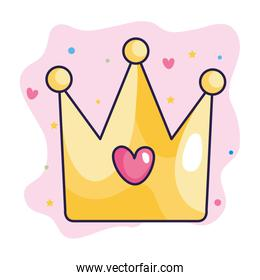 crown with heart and cute decoration
