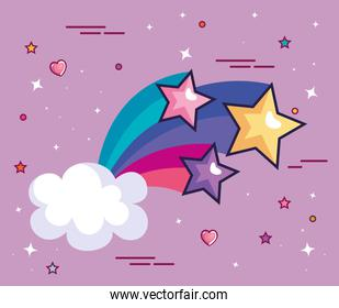 shooting star with cloud and cute decoration