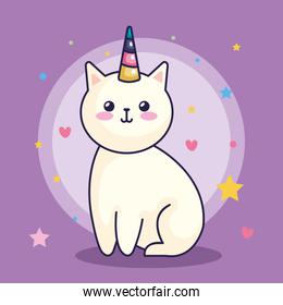 cute cat unicorn with hearts and stars decoration