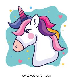 head of cute unicorn with hearts and stars decoration
