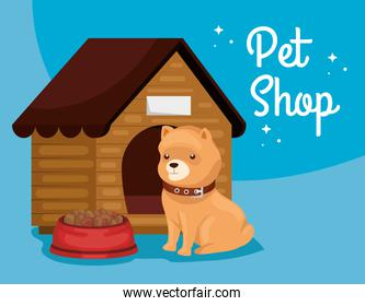 pet shop veterinary with dog and wooden house