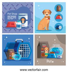 set poster of pet shop with icons